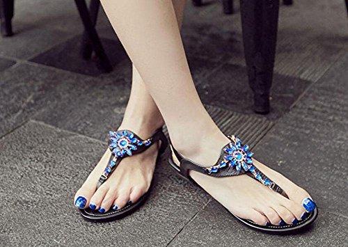 WOMEN flache Sandalen Leder Damen blaue Edelstein Sandalen bequeme flache Schuhe Black