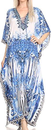Sakkas SS1686 KF2020967LAT - LongKaftan Georgettina Ligthweight larga impresa vestido caftán/Cover Up - azul/blanco -OS