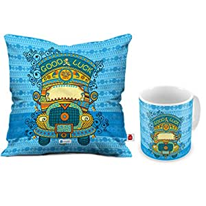 Indi ts Diwali Decoration Items Good Luck Quote Blue Cushion Cover 12