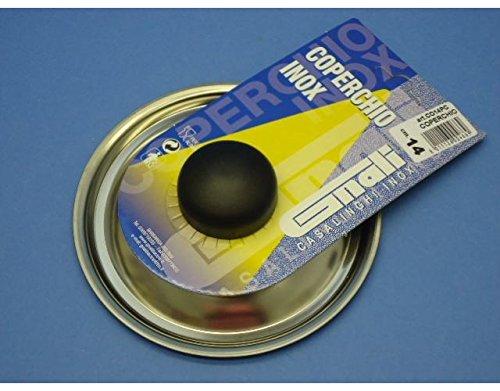 Coperchio in acciaio inox con pomolo per pentole casseruole con diam 14 Cm