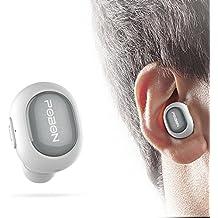Auricular Bluetooth Vobon Casco Mini Inalámbrico Invisible In-Ear Estéreo con Micrófono Incorporado y Cancelación de Ruido de Apoyo Manos Libres para Moviles iPhone Samsung y Andriod Teléfonos (Blanco)