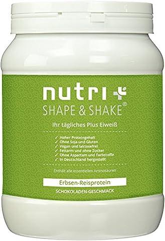 Nutri-Plus Erbsenprotein + Reisprotein - Veganes Proteinpulver ohne Soja, Gluten, Laktose und Aspartam - Schokolade 500g - (Gluten Laktosefrei)
