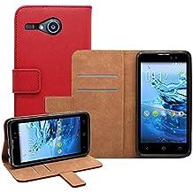 Membrane - Rojo Cartera Funda Carcasa para Acer Liquid Z520 - Wallet Case Cover + 2 Protector de Pantalla