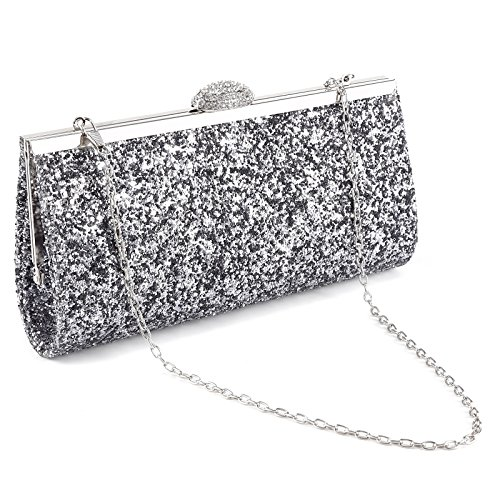 Funkelnde Handtasche Strass-Schnalle Damentasche glitzernde Abendtasche Strasssteine Clutch Glitzer grau (Handtasche Strass-schnalle Geldbörse)