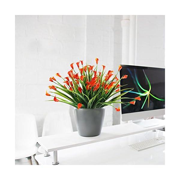 NAHUAA 4pcs Flores Artificiales Ramo de Flor Lirio de Cala Lirios Artificiales Rojo para Jardin Decoración Casa Oficina…