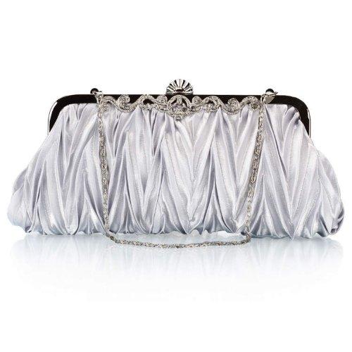 Swallowuk Damen Falten Abends Packs Kleider Kupplung Satin Handtaschen Dekorative Geldbörse Silber