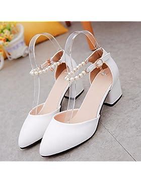 SDKIR-Con Baotou studenti donna sandali estivi scarpe singolo, bold campo con un tie-ups ragazze tacchi alti ,...