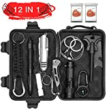Abida Survival Kit, 12 in 1 Outdoor Emergency Survival Kit mit Survival-Decke, Klappmesser, Feuerstarter, Tactical Pen, Taktische Taschenlampe zum Wandern, Camping, Reisen (mit Benutzerhandbuch)