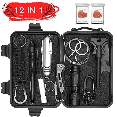 Abida Survival Kit, 12 in 1 Outdoor Emergency Survival Kit mit Survival-Decke, Klappmesser, Feuerstarter, Tactical Pen, Taktische Taschenlampe zum Wandern, Camping, Reisen (mit Benutzerhandbuch)