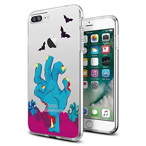 Lustige Halloween-Schutzhülle für iPhone 7, 8 Plus, für Mädchen, Männer, Frauen, Rückseite, stoßfest, stoßfest, TPU-Rahmen für 5,5 Zoll / 14 cm iPhone 7, 8 P, iphone7/8 Plus, Halloween 1