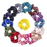 Frcolor 15pcs scricchiolii elastici dei capelli di colore solido che portano giornalmente i legami dei capelli per le ragazze delle donne