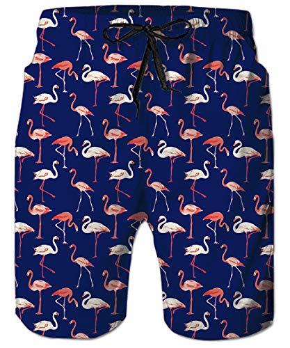 ALISISTER Badehose Herren 3D Flamingo Grafik Badeshorts für Männer Herren Sommer Hawaii Strand Surf Boardshorts Mit Netzfutter XXL
