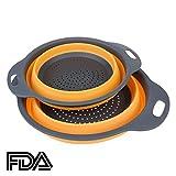 2pcs Zusammenlegbares Silikon-Sieb / Sieb-HanSemay Küche Craft.Safe und Durable.Includes 2 Größe große 11,5 und 9,5 Zoll. (Orange)