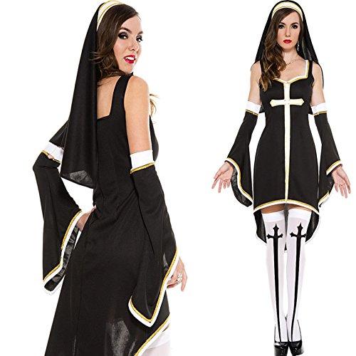 DLucc Halloween Kostüme Damen Pastor dienen Nonne Kostüm Rollenspiel