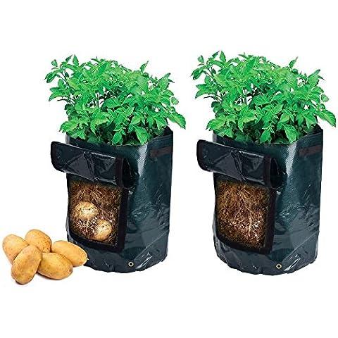 Newcomdigi Sacco per Coltivazione di Patate Borsa per Piantare Piantine di Ortaggi Grow Bag in PE Impermeabile Sacchetto del Giardino Balcone 45 x 35 cm Nero - 2