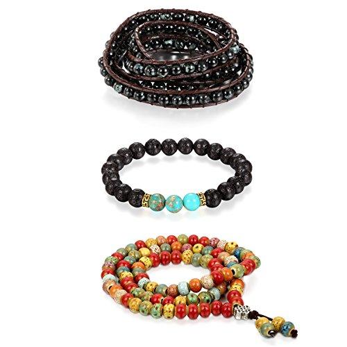 Cupimatch 3pcs Herren Damen Buddha Mala Armband Kette, Kugeln Perlen Gebetskette imitation Sandelholz Strang Holz Obsidian Halskette Perlenarmband, schwarz bunt