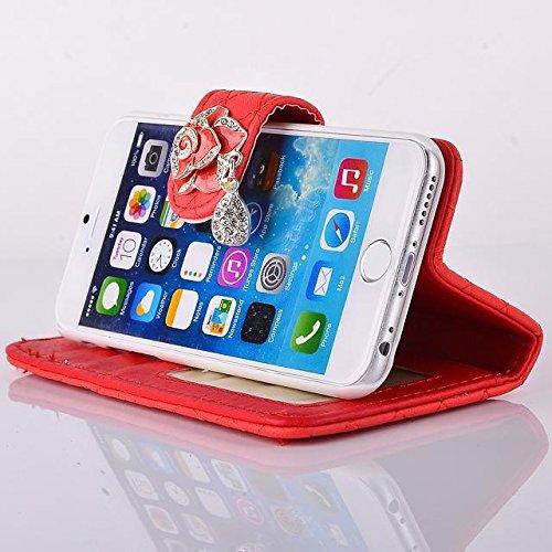 """inShang iPhone 6 Plus iPhone 6S Plus Coque 5.5"""" Housse de Protection Etui pour Apple iPhone 6+ iPhone 6S+ 5.5 Inch, Coque Avec Elégant Boucle + Pochette + GRIP PATTERN POLISH PU, Cuir PU de premiere q pendant red"""