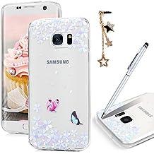 MAXFE.CO Coque Etui Protection pour Samsung Galaxy S7 Edge TPU Gel Silicone Souple Ultra Mince Antichoc Résistant Animé Dessin Original Motif Case Cover Housse de Smartphone - Papillon et Fleur