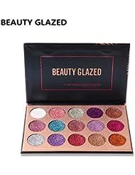 BEAUTY GLAZED 15 Couleurs Longue Durée Glitter Palette de Ombre a Paupiere Eyeshadow Shimmer Fard a Paupiere Brillant...