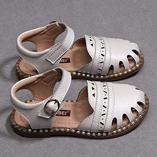 Oasap Girl's Fashion Round Toe Hollow out Flat Sandals white