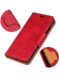 Funda SONY XZ2,Funda Cover SONY XZ2,Aireratze Slim Case de Estilo Billetera Carcasa Libro de Cuero,Carcasa PU Leather Con TPU Silicona [Parte Superior] [Imanes Fuertes] Case Interna Suave [Función de Soporte] [Ranuras para Tarjetas y Billetera] [Cierre Magnético] para SONY XZ2 (Rojo) (+ Cable USB)