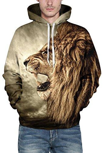 EmilyLe Herren digitaldruck Galaxy Bunt Sweatshirt Langarm Kapuzenjacke mit Tier Muster Frühling Jumper Fashion Pullover Löwe