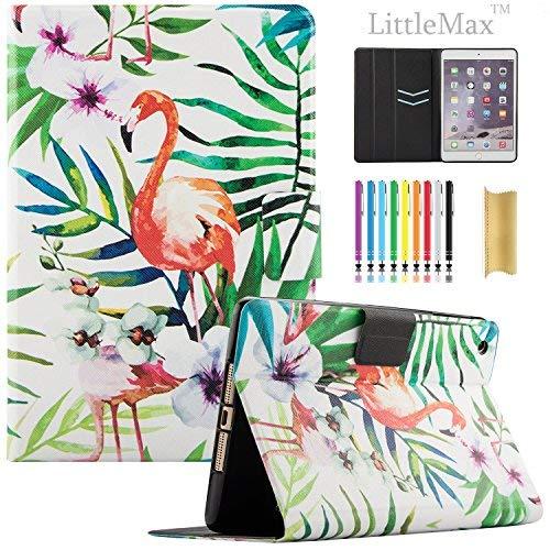 iPad Mini Fall-littlemax (TM) [Karten Halterung] Ultra Slim Leicht Dünn PU Leder Ständer Flip Case Cover mit Auto Sleep/Wake für Apple iPad Mini 1/2/3/10,2-20,1cm-#, 01 Flamingo in Garden