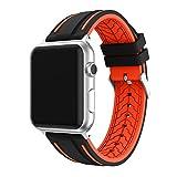 LEEHUR Apple Watch Bracelet, 42mm Apple Watch Band Silicone Souple Sport Band Strap pour Apple Watch - Noir et Orange