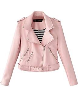 8cee120795c7 Blouson Loisirs Et Confort Femme Cuir Véritable Veste De Moto Classique  Manches Longues