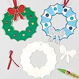 Décorations Couronnes de Noël en bois que les enfants pourront personnaliser et suspendre (Lot de 4)