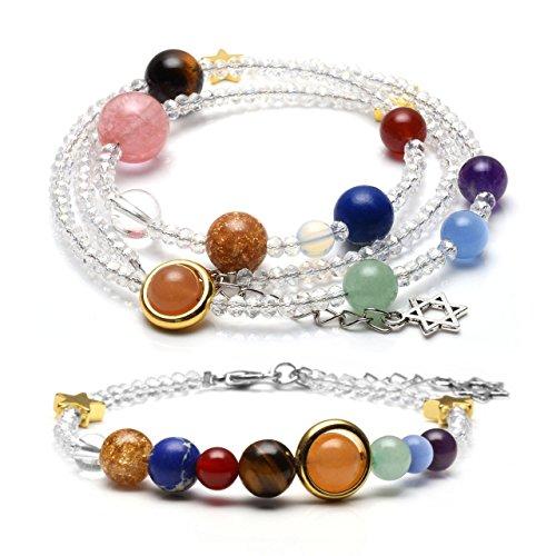 Planet Halskette (JOVIVI Schmuck Set Glas Beads Armband + Halskette Energietherapie Planet Asteroid Sonnensystem Stein Armreif Wickelarmband Weiß)
