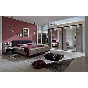 lifestyle4living Schlafzimmer, Schlafzimmermöbel, Set, Komplettset, Schlafzimmereinrichtung, Komplettangebot, Einrichtung, Trüffeleiche, schwarz, Schwebetürenschrank