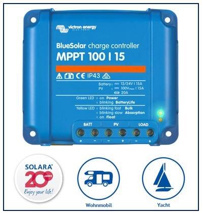 Preisvergleich Produktbild Premium Set Victron MPPT 100 / 15 Laderegler für Wohnmobile und Yachten