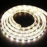 XUNATA 1m Strisce LED 220V e alimentatore, 5050 60LED/m, IP65 Impermeabile, Flessibile Striscia a LED per Scaletta Tetto Cavi da Cucina Decorazione- Bianco Caldo