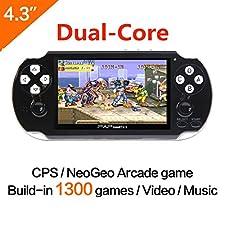 64Bit Console de jeux pour ordinateur de poche 4.3 pouces Built-in 650no Repeat Support de jeu classique Câble AV Consoles de jeux portables Surcharge CPS / NEOGEO / GBA / SFC / MD / FC / GBC / SMS / GG / GB Appareil d'arcade et vidéo caméra de musique (noir)