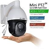 SUNBA 3X Optical Zoom, Mini Analog PTZ Cameras, 960H 700TVL, 98ft Night Vision CCTV Outdoor Security Dome w/RS485 Control (301-3X)