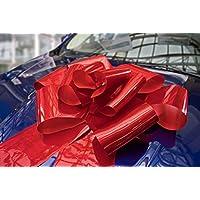 Kenley Lazo Gigante para Coche - Lazo Magnético Rojo de 42cm con Cintas de 142 cm - Adorno Sorpresa para Regalo de Bodas Cumpleaño Navidad - Se Acopla con Imanes y Ventosas