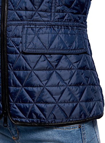 oodji Collection Damen Steppjacke mit Stehkragen Blau (7900N)