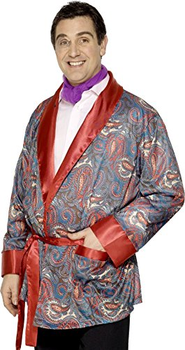 (Mens Paisley Smoking Jacket Hugh Hefner Playboy Robe Outfit Fancy Dress Costume)