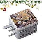 Universal Adaptador de Viaje Enchufe con Dos Puertos USB como un Regalo de Navidad para US EU UK AU acerca de 150 Países y Seguridad de Fusibles para Tableta PC,Smartphones Cámaras Digitales, Reproductores de MP3-Milool