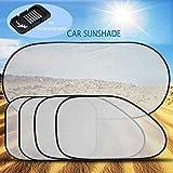(Pack 5) XFAY Pare-soleil Fenêtre de Voiture Auto Bébé Enfant /Nuances de Fenêtre de Voiture/Pare-soleil latéral pour voiture - La Prime de Voiture Parasol Blocs Plus de 97% des Rayons UV nocifs - Grille argent Semitransparent - Argent