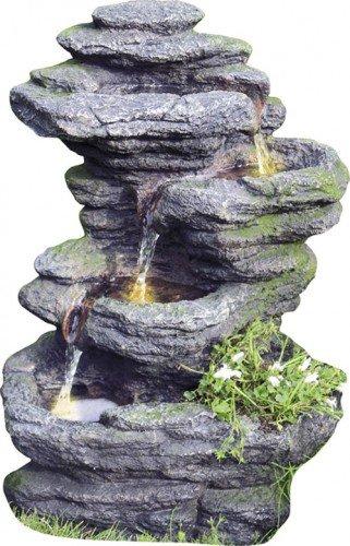 Raumbrunnen Zimmerbrunnen Gartenbrunnen Wasserfall TAO inkl Pumpe LED