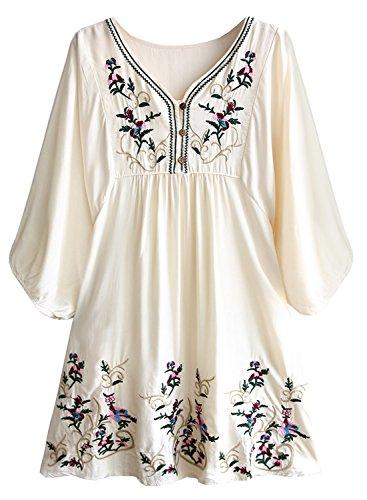 FUTURINO Damen Sommerkleid Bohemian Stickerei Floral Tunika Shirt Bluse Flowy Minikleid, 01 Beige, M (Shirt Stickerei)