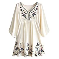 Futurino Women's Bohemian Embroidery Floral Tunic Shift Blouse Flowy Mini Dress,Flower Beige,Small