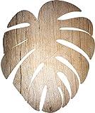 Cuadros Lifestyle 2D-Wandobjekt aus Holz | Blatt | Pflanze | Tropisch | Monstera deliciosa | Holzbild | Shabby-Look | Landhaus | Vintage | Holzobjekt | Deko | Holzdruck | Geschenk, Größe:ca. 25x30cm