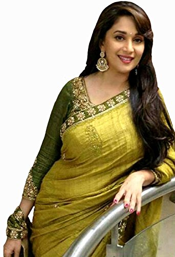 Macube Madhuri pista green saree with blouse piece