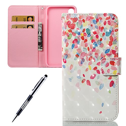 iPhone X Custodia, iPhone X Cover, iPhone X Custodia Pelle Portafoglio, JAWSEU [Shock-Absorption][Anti Scratch] Lusso 3D Modello Wallet PU Leather Flip Cover Custodia per iPhone X Protectiva Bumper Co Petali colorati