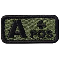 Tactical Type A Positive Blood Type Patch Embroidered Morale Applique Fastener Hook & Loop Emblem