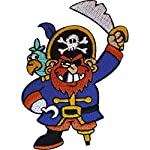 Embroidered Iron On Pirate Patch Sew On Badge with Hat Sword Peg Leg Parrot Hook
