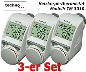 SET 3 x Heizkörper Thermostat für Heimeier, Honeywell-Braukmann, Oventrop, Danfoss Ventile